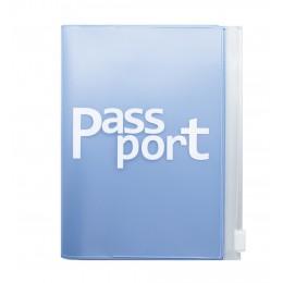 Обложка для паспорта с карманом, светло-голубая