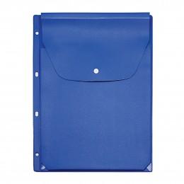 Файл-вкладыш А4 на кнопке, расширяющийся, с перфорацией, голубой,  243*310