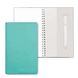 Блокнот на пружине, блок в точку, с ручкой, бирюзовый
