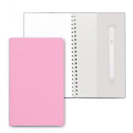 Блокнот на пружине, блок в точку, с ручкой, св. розовый