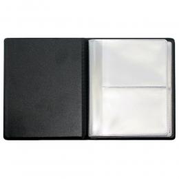 Визитница на 48 шт, 110х130 мм, черный кожзам