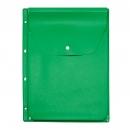 Файл-вкладыш расширяющийся клапан с кнопкой, 245х310, 4 отв., ярко зеленый