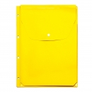 Файл-вкладыш расширяющийся клапан с кнопкой, 245х310, 4 отв., желтый