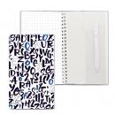 Блокнот на пружине, блок в точку, с ручкой, 110*190, Шрифт