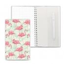 Блокнот на пружине, блок в точку, с ручкой, 110*190, Фламинго