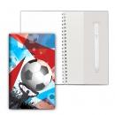 Блокнот на пружине, блок в точку, с ручкой, 110*190, Футбол