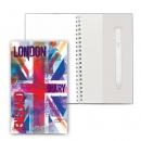 Блокнот на пружине, блок в точку, с ручкой, 110*190, Британия