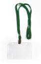 Бейдж горизонтальный с клипсой на ленте в комплекте, зеленая лента