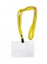 Бейдж горизонтальный с клипсой на ленте в комплекте, желтая лента