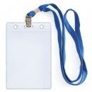 Бейдж вертикальный с клипсой на ленте в комплекте, синяя лента