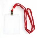 Бейдж вертикальный с клипсой на ленте в комплекте, красная лента