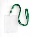Бейдж вертикальный с клипсой на ленте в комплекте, зеленая лента