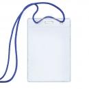 Бейдж вертикальный, в комплекте со шнуром, синий шнурок