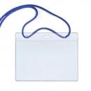 Бейдж горизонтальный, в комплекте со шнуром, синий шнурок